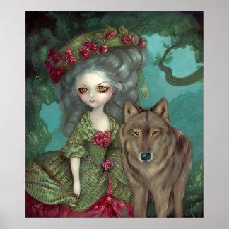 Loup-Garou:  La Foret gothic wolf rococo Art Print