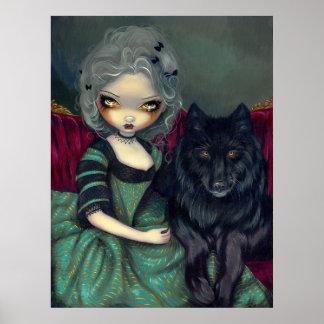 Loup-Garou: Noir black wolf gothic rococo Print