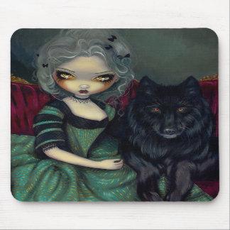 Loup-Garou:  Noir rococo gothic wolf Mousepad
