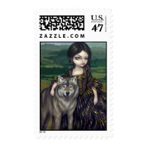 art, fantasy, eye, eyes, loup-garou, loup, garou, france, french, rococo, portrait, queen, wolf, wolves, dog, dogs, vampire, vampires, werewolf, werewolves, landscape, burgundy, countryside, dress, big eye, big eyed, jasmine, becket-griffith, becket, griffith, jasmine becket-griffith, jasmin, strangeling, artist, goth, gothic, fairy, gothic fairy, faery, Stamp with custom graphic design