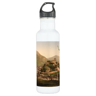 lourdes city and castle pyrenees france stainless steel water bottle