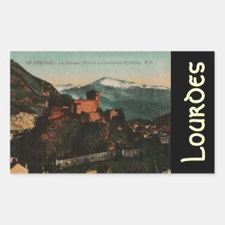 Lourdes Fort Chateau France postcard 1910 approx Rectangular Sticker