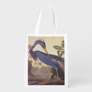 Lousiana Heron in Gray, Green, and Blue by Audubon Grocery Bag