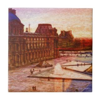 Louvre en París Francia por el mac de Shawna Azulejo Cuadrado Pequeño