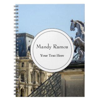 Louvre Horse Statue, Paris Travel Photograph Spiral Note Book