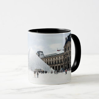 Louvre in white winter Paris Mug