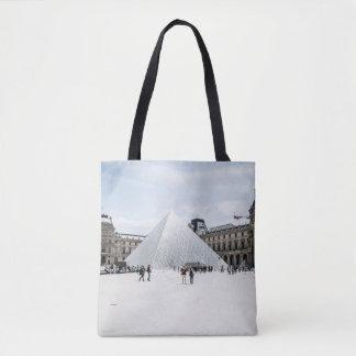 Louvre in white winter Paris Tote Bag
