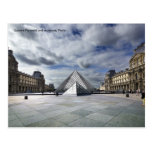 Louvre Pyramid and Museum in Paris. Postcards