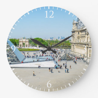Louvre Pyramid and Palace in Paris Large Clock