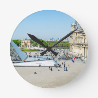 Louvre Pyramid and Palace in Paris Round Clock
