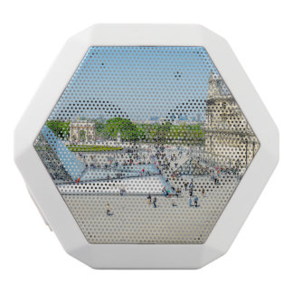 Louvre Pyramid and Palace in Paris White Bluetooth Speaker