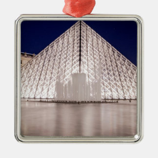 louvre pyramid france paris at night metal ornament