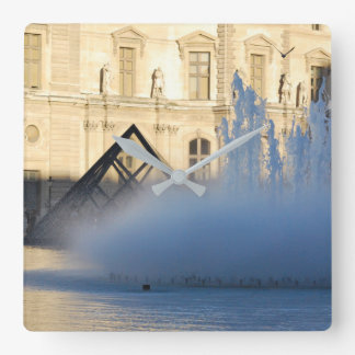 LOUVRE PYRAMID PARIS SQUARE WALL CLOCK