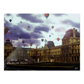 Louvre y Baloons Poster