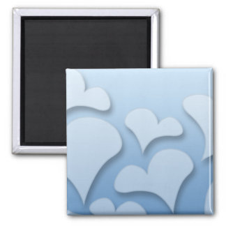 Lovable bluish hearts 2 inch square magnet