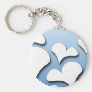 Lovable hearts on bluish texture keychain