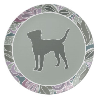 Lovable Lab in Sage Blush Garden Pattern, Melamine Plate