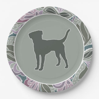 Lovable Lab in Sage Blush Garden Pattern, Paper Plate