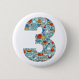 Lovable Little Monsters 3rd Birthday Button