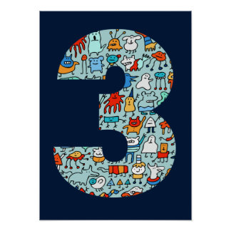 Lovable Little Monsters Blue Number Three Poster