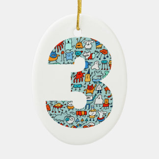 Lovable Little Monsters Number Three Oval Ornament