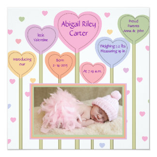 Lovable Pink Photo Birth Announcement