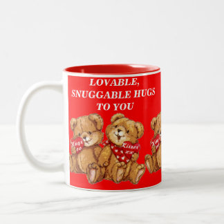 LOVABLE, SNUGGABLE HUGS TO YOU Two-Tone COFFEE MUG