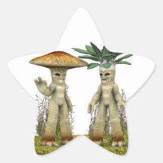 Lovable Vegetables - Waving Star Sticker