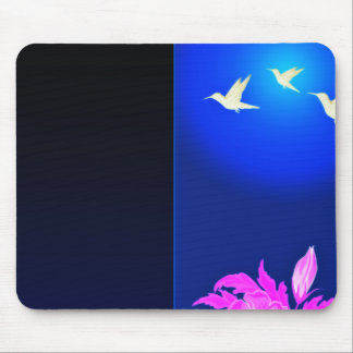 Lovable white birds and pink blossom gift mouse pad