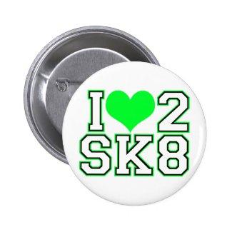 Love2SK8-Black & Lime Pinback Button