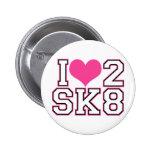 Love2SK8 - Black & Pink 2 Inch Round Button