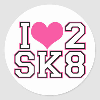 Love2SK8 - Black & Pink Classic Round Sticker