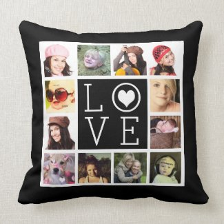 LOVE 12 Instagram Photo Collage Throw Pillow Accent Pillow 20' x 20