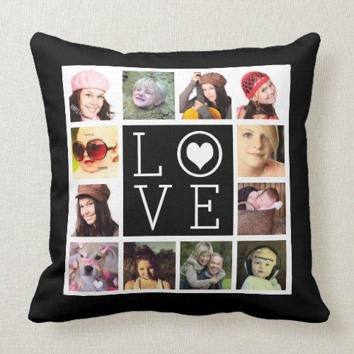 LOVE 12 Instagram Photo Collage Throw Pillow