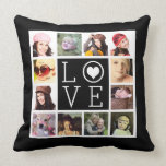 "LOVE 12 Instagram Photo Collage Throw Pillow<br><div class=""desc"">Upload a dozen of your favorite or best family pictures to make your very own personalized throw pillow! Plain black background front and back. Photos are highlighted with white, with large modern font letters spelling out LOVE with a small white heart inside the O. Outside images are perfect for instagram...</div>"