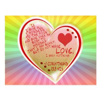 LOVE 1 Corinthians 13 :3 NIV Postcard