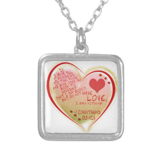LOVE 1 Corinthians 13 :3 NIV Silver Plated Necklace