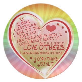 LOVE 1 Corinthians 13:3 NLT Melamine Plate