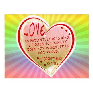 LOVE 1 Corinthians 13 :4 NIV Postcard