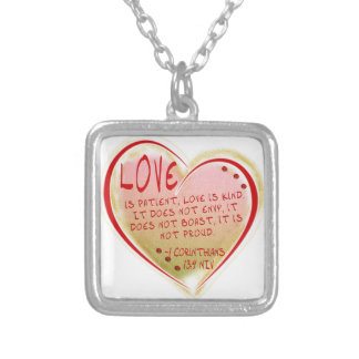 LOVE 1 Corinthians 13 :4 NIV Silver Plated Necklace