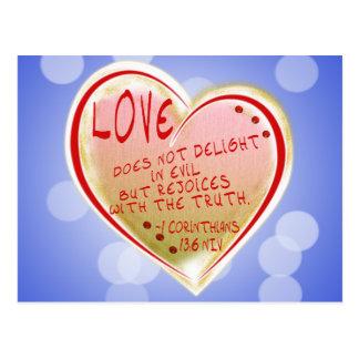 LOVE 1 Corinthians 13 :6 NIV Postcard