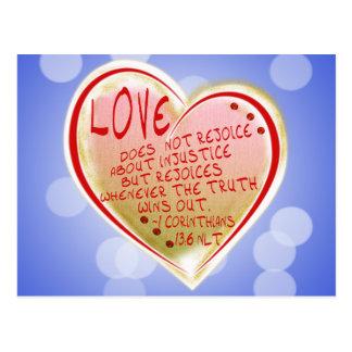 LOVE 1 Corinthians 13 :6 NLT Postcard