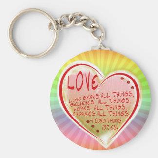 LOVE 1 Corinthians 13 :7 ESV BEARS ALL THINGS Keychain
