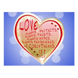 LOVE 1 Corinthians 13 :7 NIV FAITH HOPEFUL Postcard