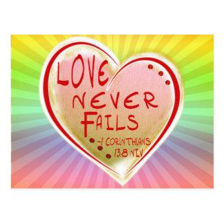 LOVE 1 Corinthians 13 :8 NIV LOVE NEVER FAILS! Postcard