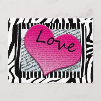 Love 1 Corinthians 13 Hearts Pink Zebra postcard