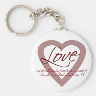 Love 1 Peter 4:8 Keychain