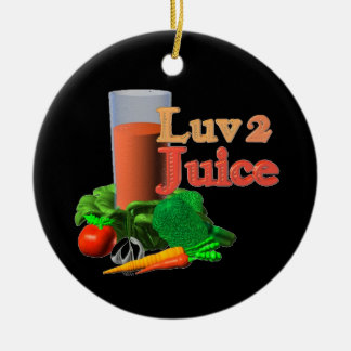 Love 2 Juice juicing design on 100+ Double-Sided Ceramic Round Christmas Ornament