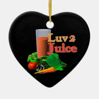 Love 2 Juice juicing design on 100+ Double-Sided Heart Ceramic Christmas Ornament