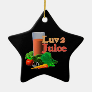 Love 2 Juice juicing design on 100+ Double-Sided Star Ceramic Christmas Ornament